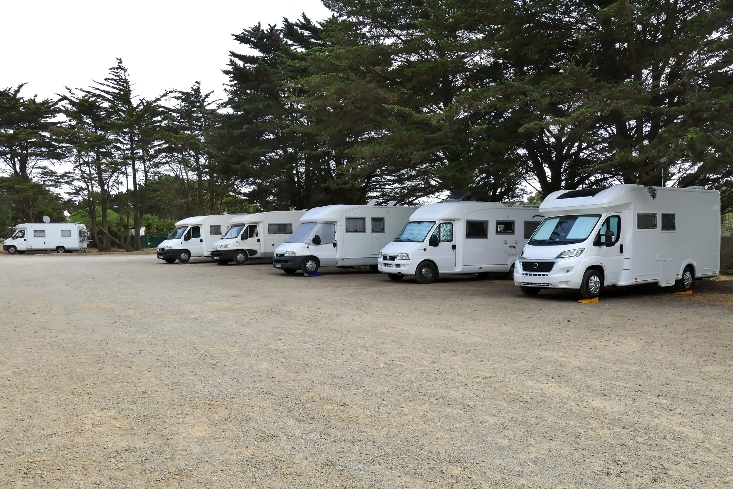 Freedom camping with camper motor homes parked on leveling blocks